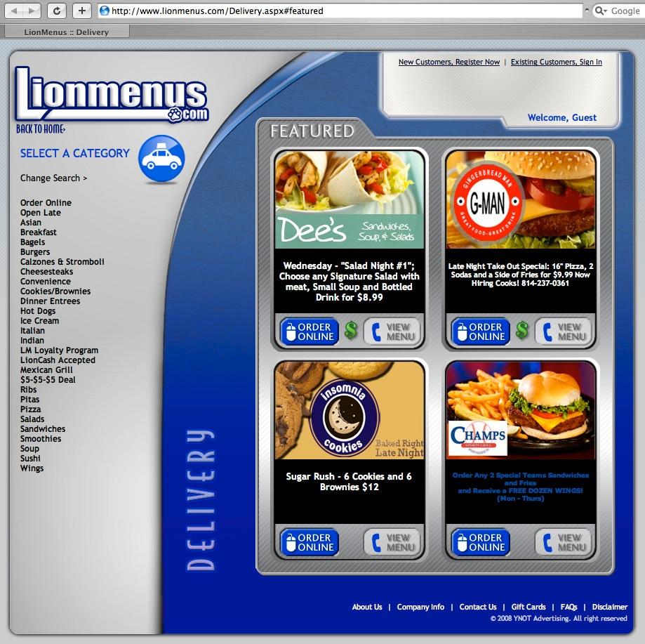 Delivery options on LionMenus.com