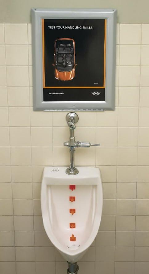 Mini Cooper Ad in Urinal in Public Restroom