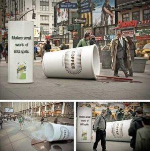 Ambient advertising giant coffee cup