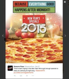 Season's Pizza New Years Specials on Twitter