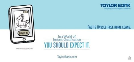 Taylor Bank Ad Message Delivers Speed