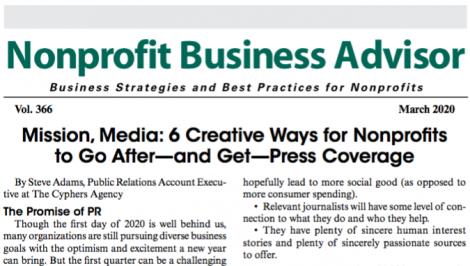 Steve Adams, PR Account Executive, Offers PR Tips to Nonprofit Leaders