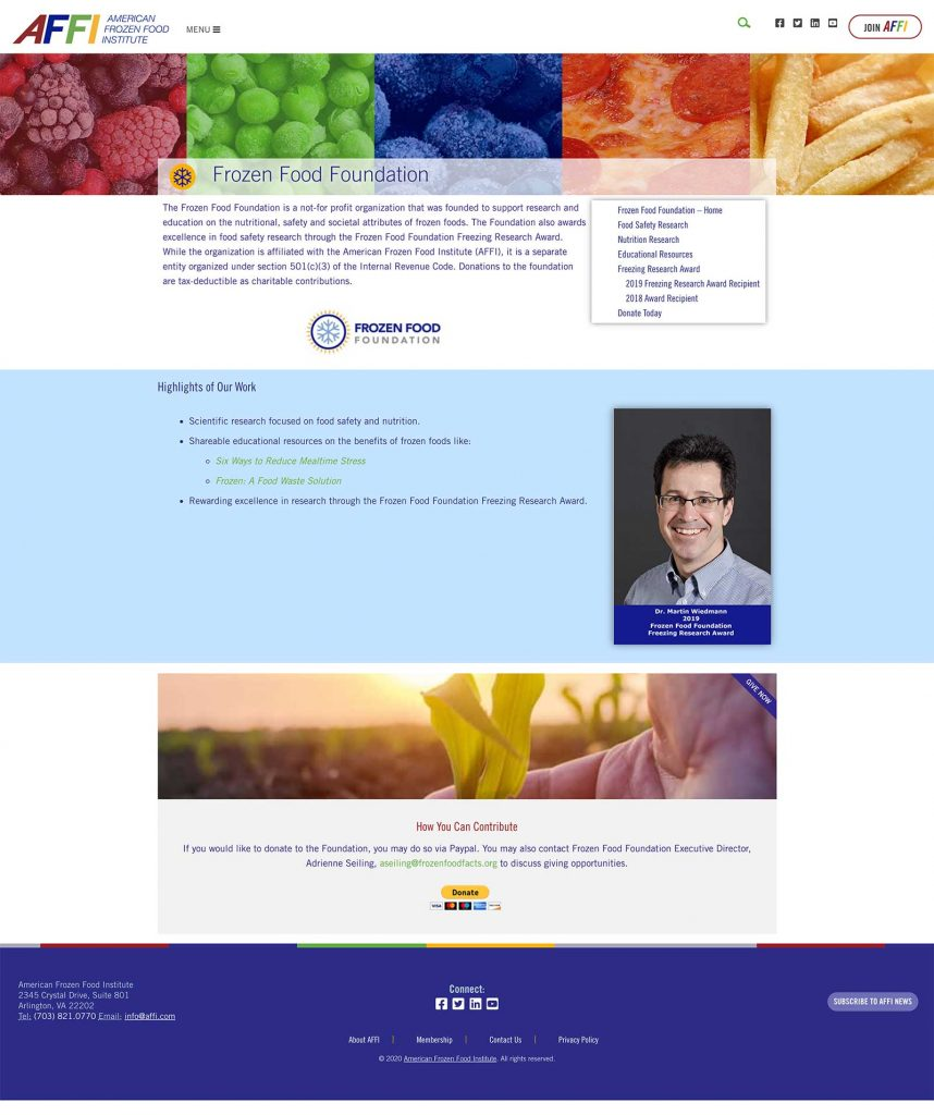 AFFI Frozen Food Foundation Website Page