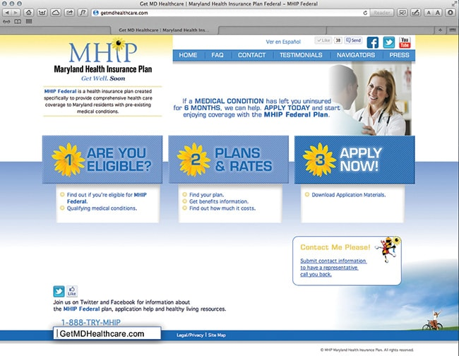 Maryland Health Insurance Plan Website