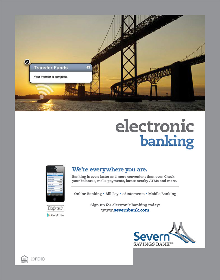 Electronic Banking Ad for Severn Savings Bank