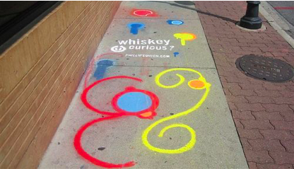 chalk drawing for a whiskey brand on the sidewalk as an example of guerrilla marketing