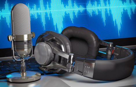 Home music or podcast studio. Microphone with headphones on laptop with waves on the screen. 3d illustration